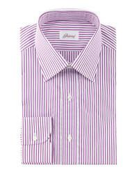 Brioni 3d Striped Dress Shirt Burgundywhite