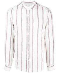 Brunello Cucinelli Collarless Striped Shirt