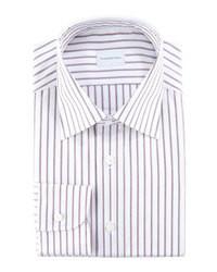 Ermenegildo Zegna Striped Dress Shirt Burgundywhite