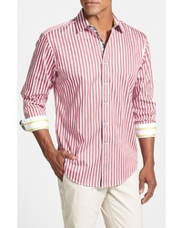 White and Red Vertical Striped Long Sleeve Shirts for Men | Men's ...