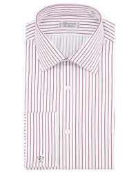 Charvet Satin Stripe French Cuff Dress Shirt Redwhite