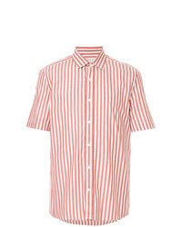 White and Red Vertical Striped Short Sleeve Shirt