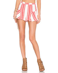 White and Red Vertical Striped Shorts