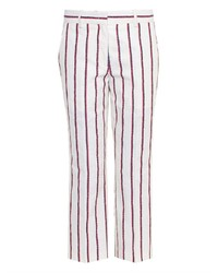 White and Red Vertical Striped Skinny Pants