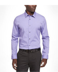White and Violet Vertical Striped Long Sleeve Shirt