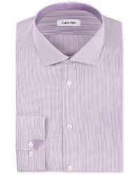 Calvin Klein Dress Shirt Steel No Iron Violet Root Mini Stripe Long Sleeved Shirt