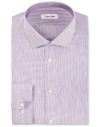 Calvin Klein Dress Shirt Steel No Iron Violet Root Mini Stripe Long Sleeved Shirt