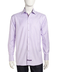 English Laundry Sateen Gingham Long Sleeve Dress Shirt Violet