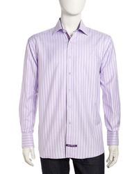 English Laundry Sateen Gingham Long Sleeve Dress Shirt Violet