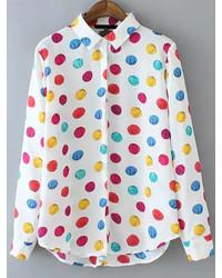 Lapel dip hem polka dot blouse medium 230241