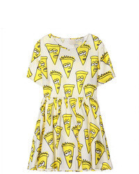 Chicnova preppy style cartoon print short sleeves yellow dress medium 75276