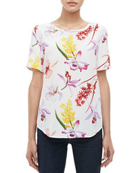 Equipment riley endangered floral print silk tee medium 425508