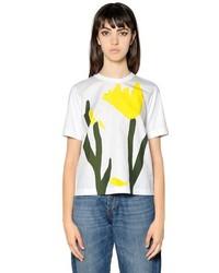 Marni Open Back Printed Cotton Poplin T Shirt