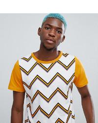 Sacred Hawk T Shirt In Yellow Zig Zag Stripe
