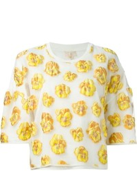 White and Yellow Print Cropped Top