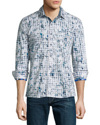 Robert Graham Diamond Pattern Long Sleeve Sport Shirt White
