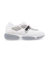 Prada Cloudbust Logo Embossed Rubber And Leather Trimmed Mesh Sneakers