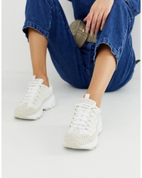 Skechers Dlite Chunky Trainers In White