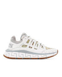 Versace Grey And White Trigreca Sneakers