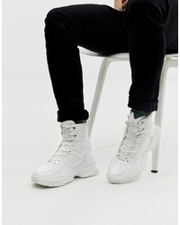 ASOS DESIGN High Top Trainers In White Mesh With Chunky Sole