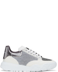 Alexander McQueen Off White Grey Court Trainer Sneakers