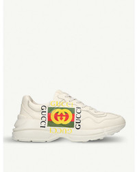 Gucci Rhyton Gg Leather Running Trainers