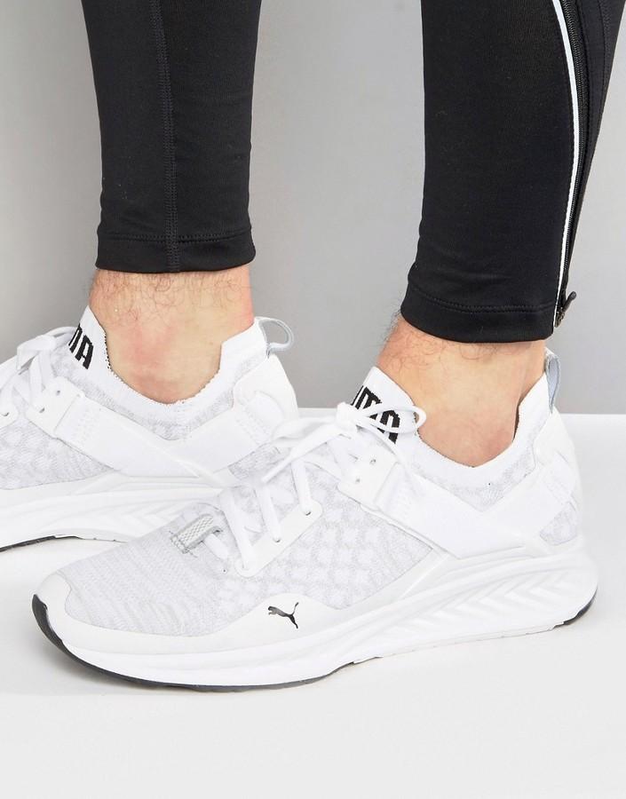 low priced 4b0b4 25809 $143, Puma Running Ignite Evoknit Lo Sneakers In White 18990402