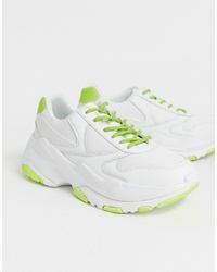 ASOS DESIGN Trainers With Neon Flash And Chunky Sole
