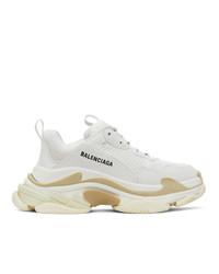 Balenciaga White And Beige Triple S Sneakers