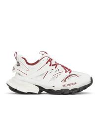 Balenciaga White And Burgundy Track Sneakers