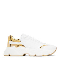 Dolce and Gabbana White And Gold Daymaster Low Sneakers
