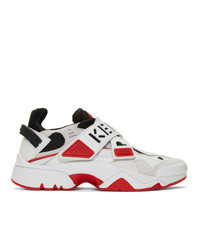 Kenzo White And Red Sonic Velcro Sneakers