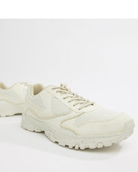 ASOS DESIGN Wide Fit Trainers In Off White With Chunky Sole