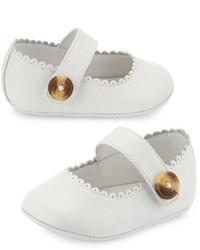 Burberry N1 Hounsett Newborn Leather Mary Jane Optic White