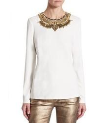 Ralph Lauren Collection Beaded Long Sleeve Top