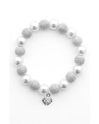 Anne Klein Faux Pearl Stretch Bracelet White Pearl Silver