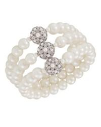 Carolee Bracelet Glass Pearl Three Row