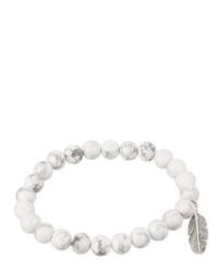 jcpenney Fine Jewelry Dee Berkley Genuine Howlite Bead Feather Stretch Bracelet