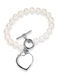 Macy's Pearl Bracelet Sterling Silver Cultured Freshwater Pearl Heart Toggle Bracelet
