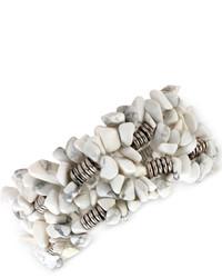 Kenneth Cole New York Silver Tone Semiprecious Chip Bead Stretch Bracelet