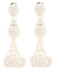 Oscar de la Renta Beaded Pom Pom Clip On Earrings