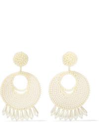 Kenneth Jay Lane Faux Pearl Beaded Earrings Off White