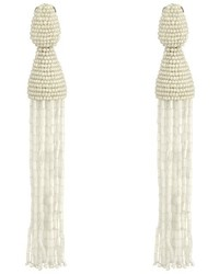 Oscar de la Renta Long Bugle Bead Tassel C Earrings Earring