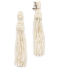 Oscar de la Renta Long Bugle Bead Tassel Clip On Earrings