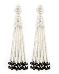 Oscar de la Renta Beaded Long Tassel Earrings Whiteblack