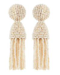 Oscar de la Renta Beaded Short Tassel Clip On Earrings Optic White