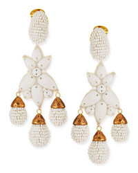 Oscar de la Renta Beaded Star Clip On Earrings White