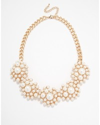 Warehouse Faux Pearl Flower Collar Necklace