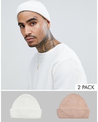 b4b9091582996a ASOS DESIGN 2 Pack Mini Fisherman Beanie In White Pink Recycled Polyester  Save