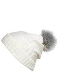 BCBGMAXAZRIA Bcbg Faux Fur Pompom Knit Beanie Black
